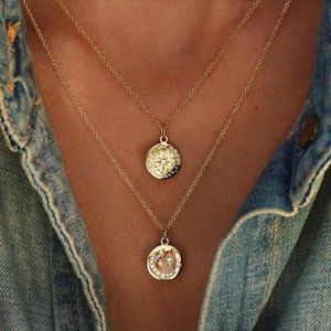 New! Women's Gold Multilayered Moon Stars Necklace